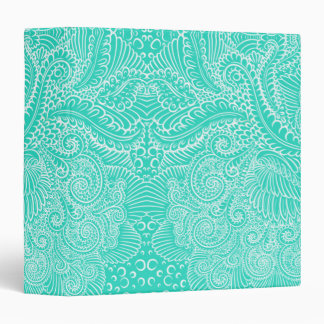 Sea Green Floral twists 3 Ring Binders
