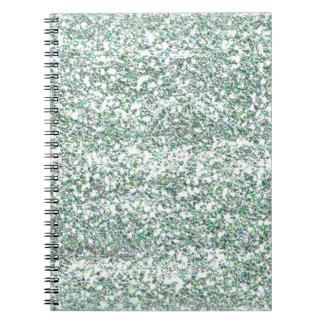 Sea Green Glitter Spiral Note Book
