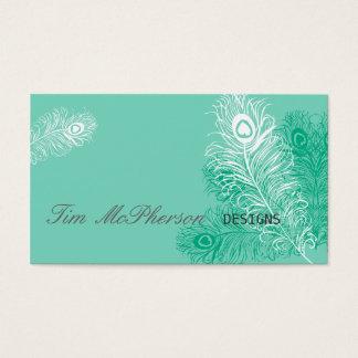 Sea Green Peacock Feather Festive Business Card
