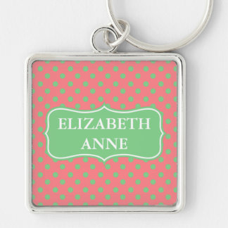 Sea Green Polka Dots on Coral Pink Personalized Silver-Colored Square Keychain