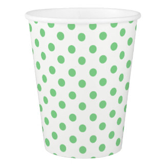 Sea Green Polka Dots on White Paper Cup