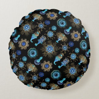Sea Green Siphonophorae Round Pillow
