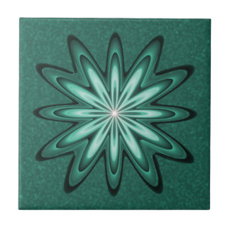 Sea Green Star Flower on Bokeh Ceramic Tile