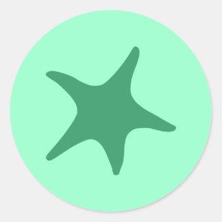 Sea Green Starfish Classic Round Sticker