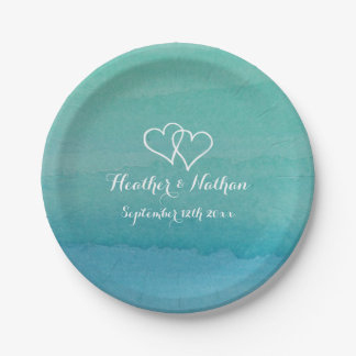 Sea green watercolor painting wedding party plates