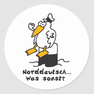 Sea gull at the port 3c North German Classic Round Sticker