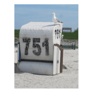 Sea gull on beach chair postcard