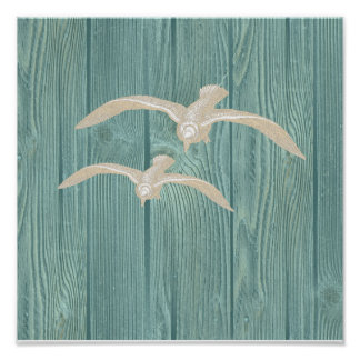 Sea Gull Vintage Aqua Wood Beach Poster
