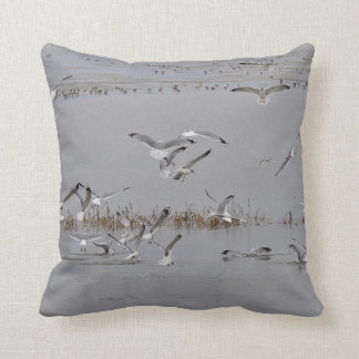 Sea Gulls feeding Throw Pillow