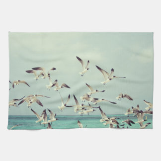 Sea Gulls In Flight Kitchen Towel