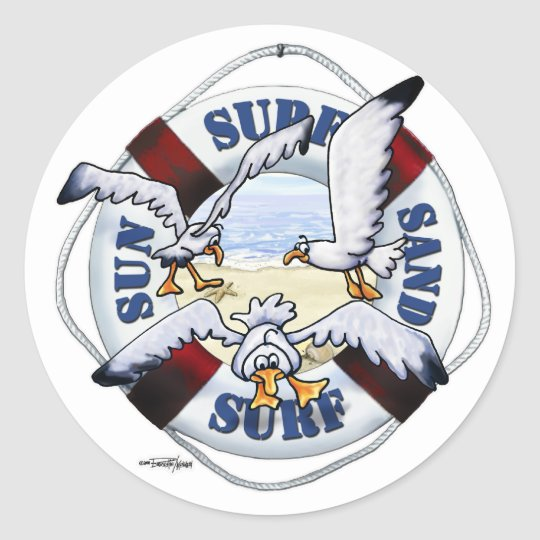 Sea Gulls Shore thing beach stickers