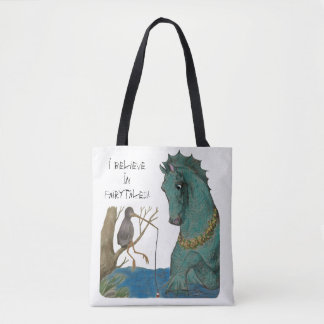 Sea Horse And Fishing Bird Whimsical Tote Bag