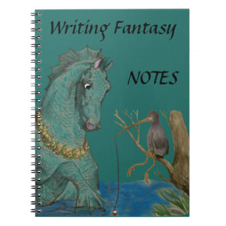 Sea Horse And Fishing Bird Whimsy Notebook