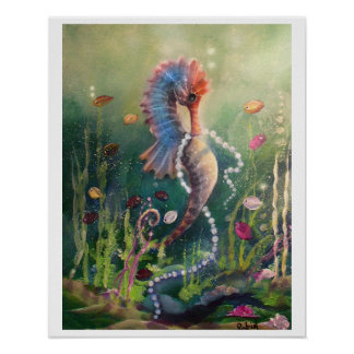 Sea Horse and Pearls Poster