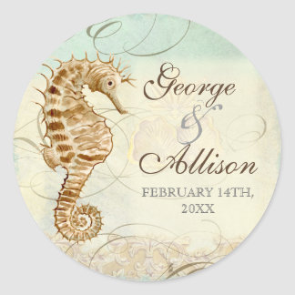 Sea Horse Coastal Beach - Wedding Sticker Seal