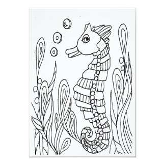 Sea Horse Coloring Cars Card