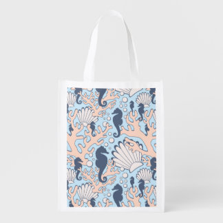 Sea Horse Gardens Blue and Orange Reusable Grocery Bag