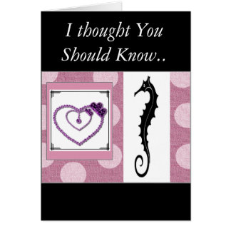 """ Sea Horse Greetings"" w/jewel-heart  I love you ! Card"