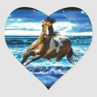 Sea horse heart sticker