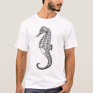 Sea Horse in Black and White T-Shirt