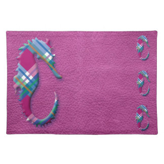 Sea Horse in Pink Blue Plaids on Leather Texture Placemat