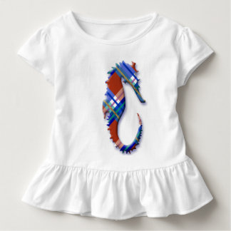 Sea Horse in Red and Blue Plaid Pattern Toddler T-shirt