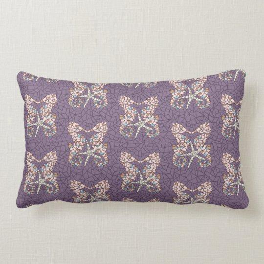 Sea Horse Mosaic Throw Pillow- Dusty Purple Lumbar Pillow