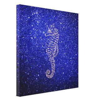 Sea Horse Ocean Life Rose Gold Cobalt Blue Glitter Canvas Print