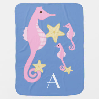 Sea Horse /Personalize (Soft Pink and Blue) Receiving Blanket