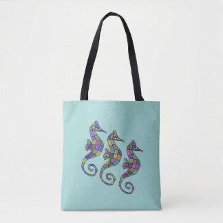 Sea Horse Rainbow Tote Bag