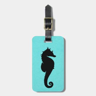 Sea Horse Silhouette Luggage Tag