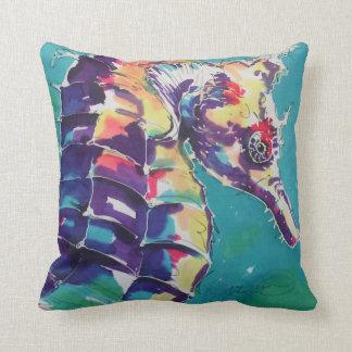 Sea Horse Silk Painting Throw Pillow