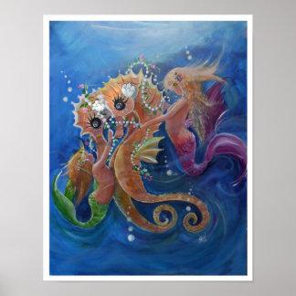 Sea Horses and Mermaids Poster