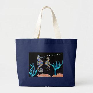 Sea Horses Coral Reef Large Tote Bag