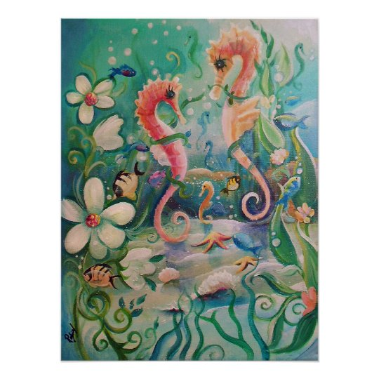 Sea Horses in Springtime Poster