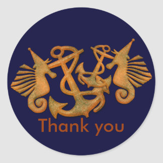 Sea horses Thank You Stickers