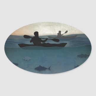 Sea Kayaking Oval Sticker