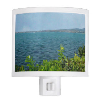 Sea landscape in polygon technique nite light