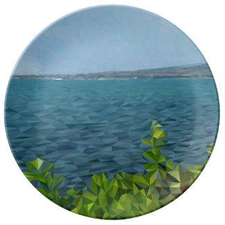 Sea landscape in polygon technique plate