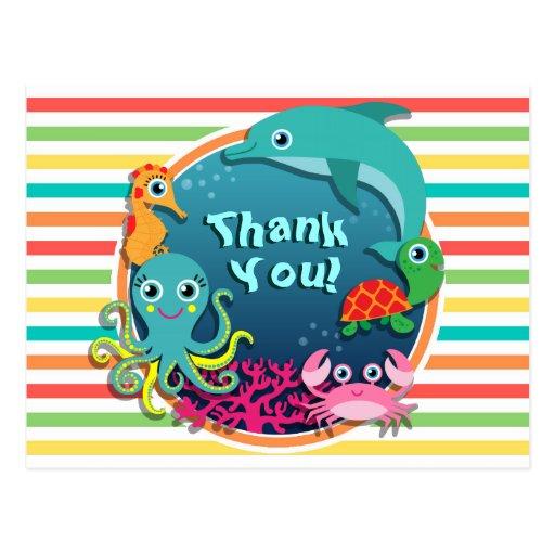 Sea Life Baby Shower, Bright Rainbow Stripes Postcards