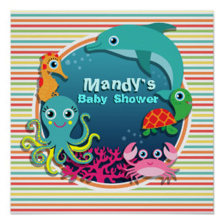 Sea Life Baby Shower Bright Rainbow Stripes Poster