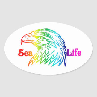 Sea Life Bald Eagle Oval Sticker
