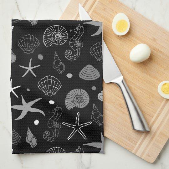 Sea Life Black Pattern Kitchen Towels