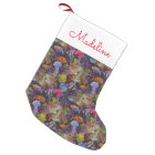 Sea Life Grunge Pattern   Add Your Name Small Christmas Stocking