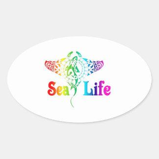 Sea Life Manta Ray Oval Stickers