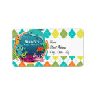 Sea Life on Colourful Argyle; Baby Shower Label
