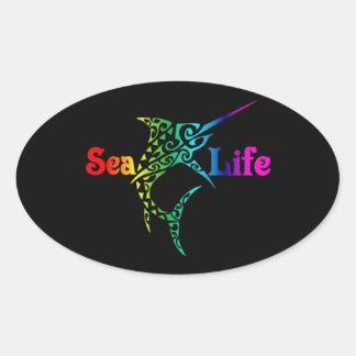 Sea Life Swordfish Oval Sticker