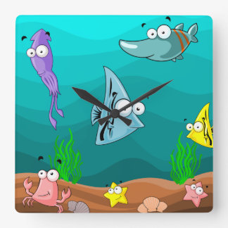 Sea Life Under the Sea Personalized Square Wall Clock