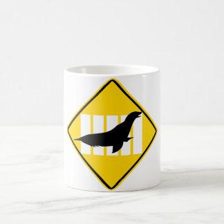 SEA LION CROSSING SIGN COFFEE MUG