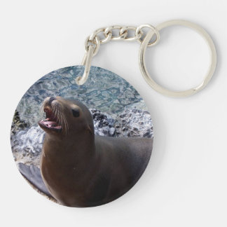 sea lion mouth open photo cute sea animal Double-Sided round acrylic keychain